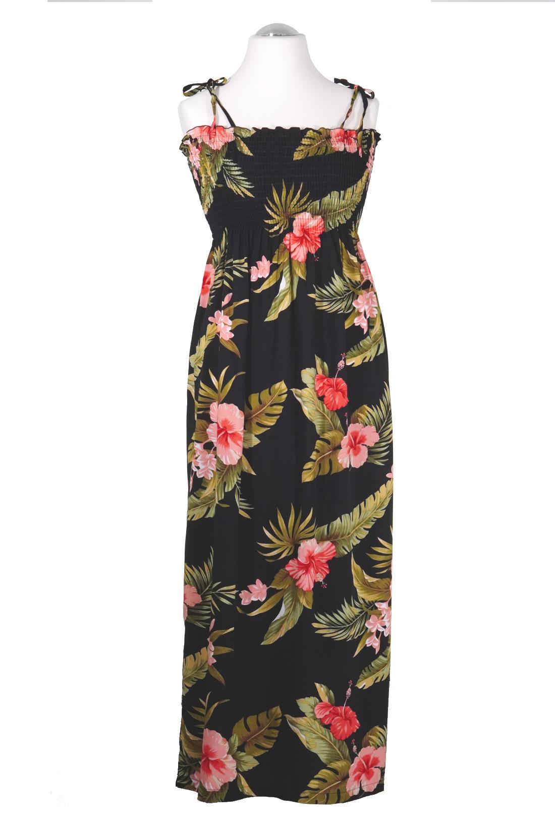 -Black Hibiscus- original Hawaii Tube Dress | lang